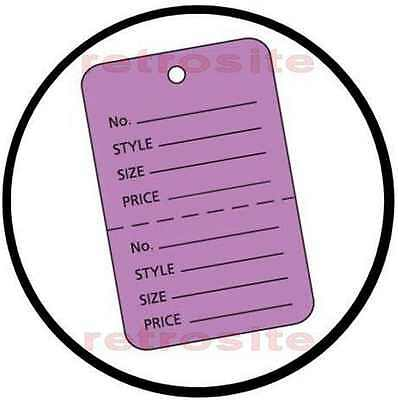 200 Small Price Coupon Tags Without Strings Lavender 2-part Perforated Unstrung