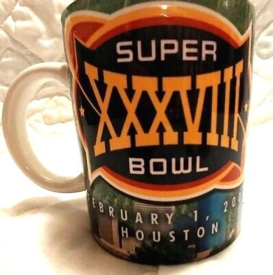 Superbowl XXXVIII Coffee cup Mug Houston Carolina vs New England 38 NFL 2004