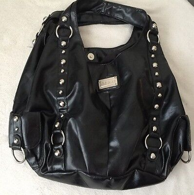 Solid Black Double Handle Hobo Bag Silver tone Studs By Cesca London New York :) ()