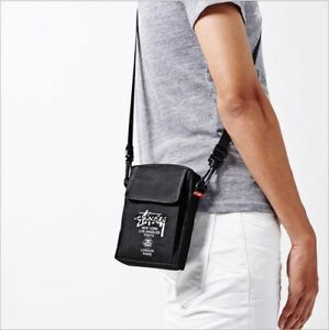 3a410dadd9 Stussy Black Canvas Mini Crossbody Messenger Shoulder Bag Pouch Magazine  FW2014