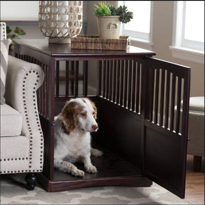 Details About Wooden Dog House Indoor Doghouses Kennel Wood End Table Pet Cat Furniture Den