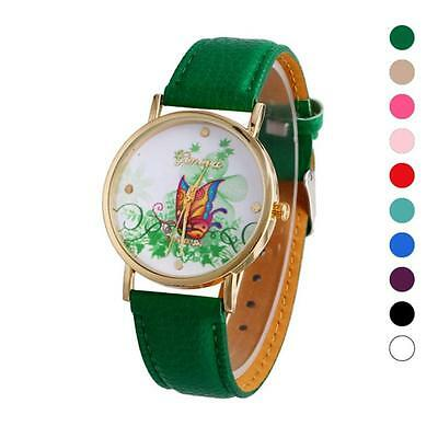 Vogue Butterfly Patterns Creative Dial Leather Band Analog Quartz Wrist Watches
