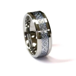 AMZ-8Mm-Tungsten-Carbide-Ring-amp-Silver-Celtic-Dragon-on-Sky-Men-039-s-Wedding-Band