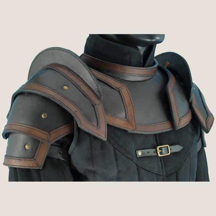 MEDIEVAL FANTASY Leather Shoulder Neck Protector PAULDRON GORGET ARMOR Set LARP