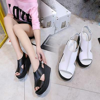 Women Summer Hollow Thick Sandals Paste Buckle Lace-Up Ankle Strap Wedges Shoes