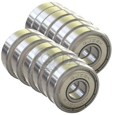 12x 608-zz Ball Bearing Sealed Roller Skate Skateboard Long Board Replacement