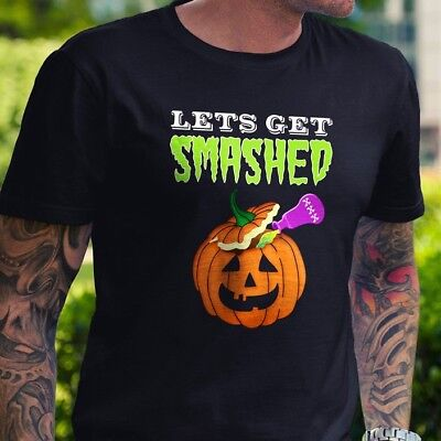 Let's Get Smashed Halloween T Shirt Pumpkin Booze Party Drink Gift Funny Costume