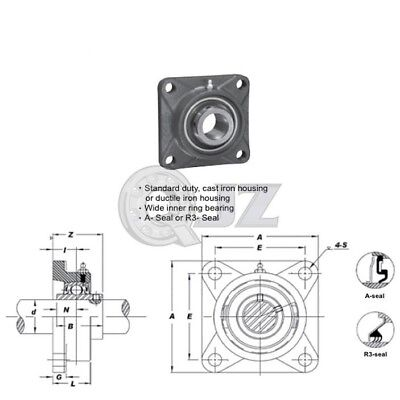1.125 In Square Flange Units Cast Iron Ucfs206-18 Mounted Bearing Uc206-18fs206
