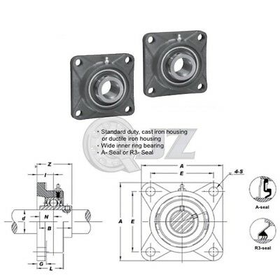 2x 2.5in Square Flange Units Cast Iron Ucfs213-40 Mounted Bearing Uc213-40fs213