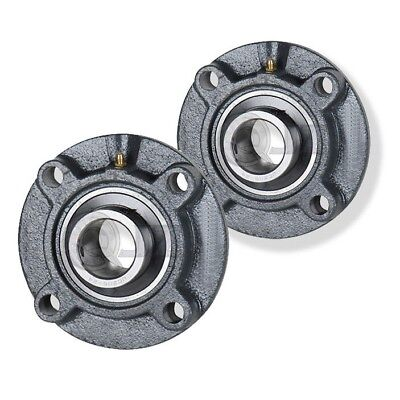 2x 1.25 in 4-Bolt Piloted Flange Cast Iron UCFC206-20 Mounted Bearing New ()