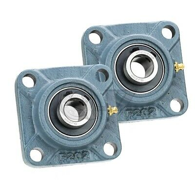 2x 2.375in Square Flange Units Cast Iron Ucf212-38 Mounted Bearing Uc212-38f212