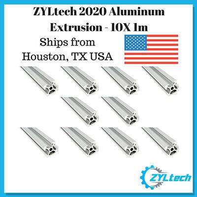 10 Pack Zyltech 2020 T-slot Aluminum Extrusion - 10x 1m 3d Printer Cnc Silver