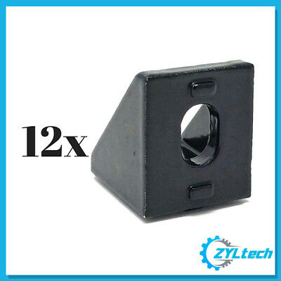 12x 90 20mm X 20mm Aluminum Braceangle Bracket For 2020 Extrusion - Black