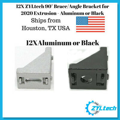 12x 90 20x28 Corner Braceangle Bracket For 2020 Extrusion - Aluminum Or Black