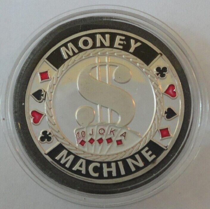 MONEY MACHINE silver color Poker Card Guard Protector