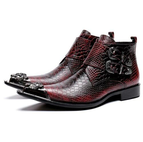 Mens Casual Leather Pointed Toe Zippers Ankle Boots British Business New Shoes