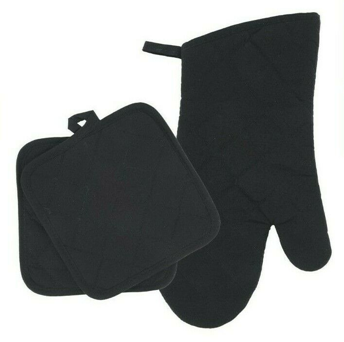 Home Collections - Kitchen Linens - Black - Oven Mitt - Pot