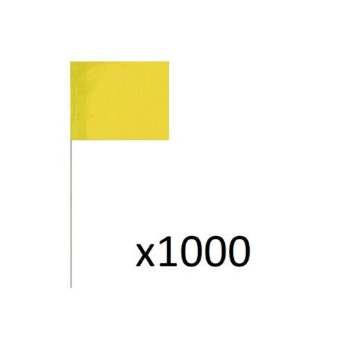 """1000 Marker Flags 21"""" Total Length 5"""" x 4"""" Vinyl Flag Multiple Colors Available"""