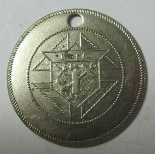 Vintage Blank K of C Identification Key Fob Tag Round KNIGHTS OF COLUMBUS Nickel