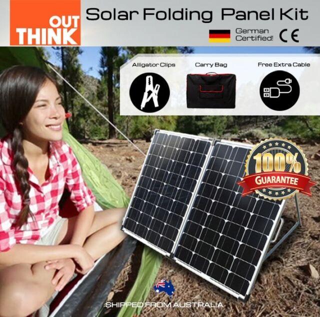 250W Folding Solar Panel Kit Caravan Camping Power 12V Mono Charging Battery