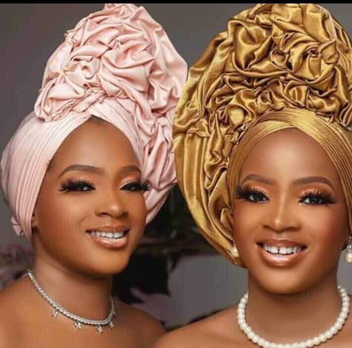african women s auto turban gelee shiny
