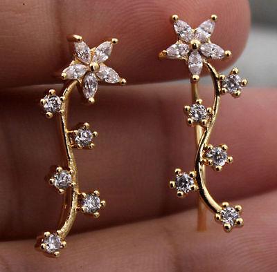 (18K Yellow Gold Filled - Flower Leaf Branch Topaz Zircon U-Design Gems Earrings)