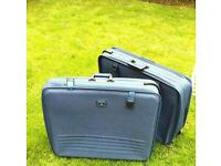 Two Blue Antler Suitcases