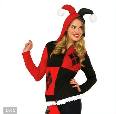 Harley Quinn Fitted Hoodie DC Comics Dress Up Halloween Cosplay Adult Costume  ()