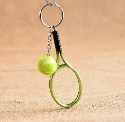 Fashion Novelty Metal Tennis Racket Ball Toy Pendant Charm Keychain Keyring Gift