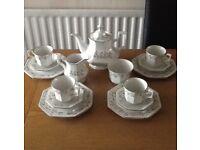 Eternal beau afternoon tea set consists teapot , sugar and milk and 12 piece tea set