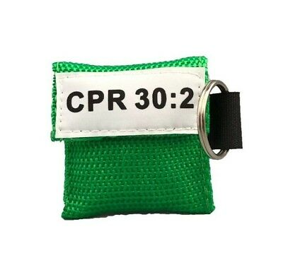 100 Green Cpr Facial Shield Mask With Pocket Keychain