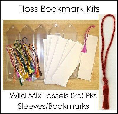 Bookmark Kits: 25 Vinyl Sleeves, Blank Bookmarks, Wild Variety Bookmark Tassels