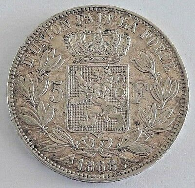 ===>>>  5 Francs 1868 Leopold II Belgique Belgïe <<<===