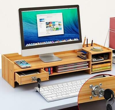 Diy Office Boardwood Monitor Stand Arm Riser Desk Storage With Organizer Drawer