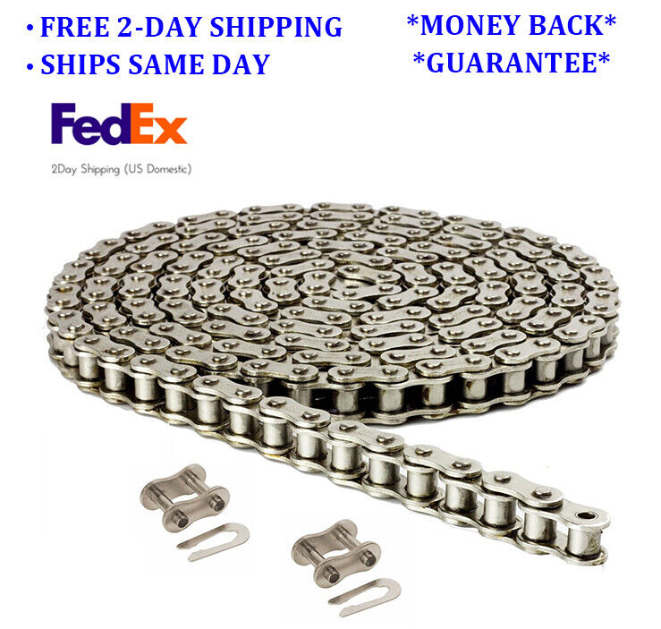 40NP Nickel Plated Roller Chain 10 Feet with 2 Connecting Links Anti-Corrosion