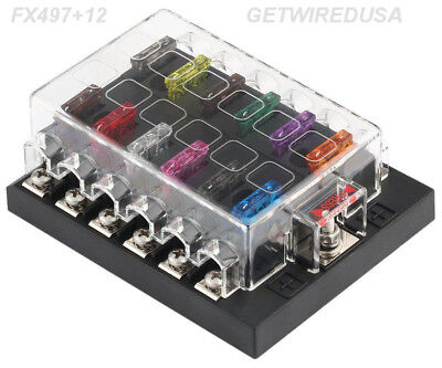 12-WAY ATC AUTO FUSE HOLDER BOX 1 IN 12 OUT POWER DISTRIBUTION PANEL WITH FUSES