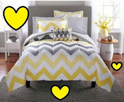 Yellow Comforter - 💗 ALL SIZES Yellow Grey Chevron Bed-in-a-Bag Comforter  & Matching Set