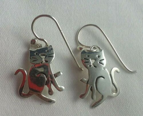 """vintage sterling """"Far Fetched"""" silver cats dangle earrings"""