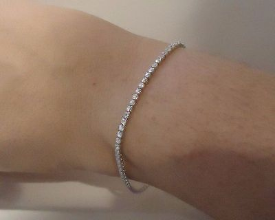 925 STERLING SILVER LADIES TENNIS BRACELET W/ 3 CTS LAB ACCENTS/ 8''