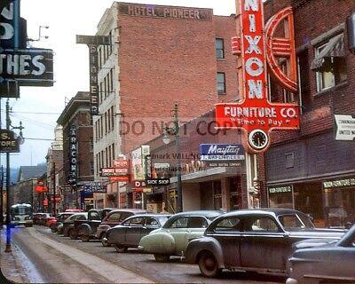 MAIN STREET IN DOWNTOWN LOGAN, WEST VIRGINIA, CIRCA 1950 - 8X10 PHOTO (ZZ-662)