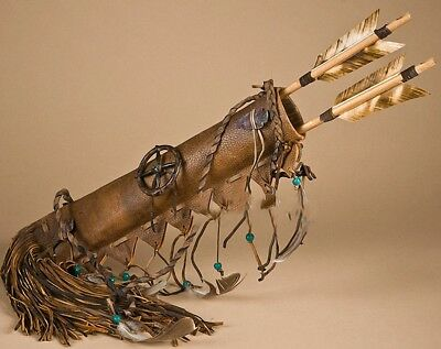 - AUTHENTIC Native American NAVAJO Made WHITE Deer Skin Quiver and Arrows Set