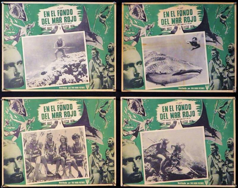 L175    UNDER THE RED SEA  Lot of 4 Mexican Lobby Cards
