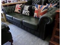 Stunning Chesterfield Vintage Green Leather 3 Seater Sofa - Uk Delivery