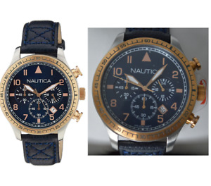 NEW NAUTICA MEN'S CHRONOGRAPH ANALOG LEATHER WATCH