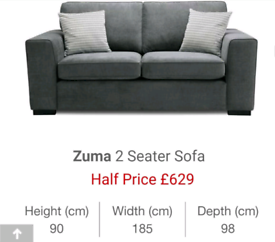 ZUMA 2 Seater Grey Sofa