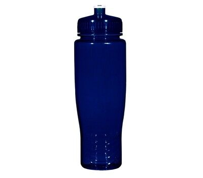 100 Bulk Pack 28 Ounce Navy Blue Water Bottles Lids. USA Made