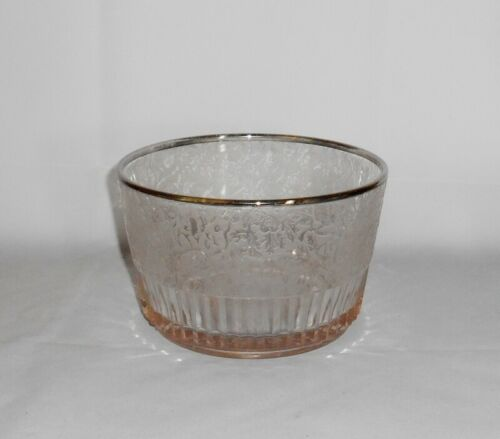 Paden City SPRING ORCHARD Etched Ice Bucket or Wine Cooler Silver Trim