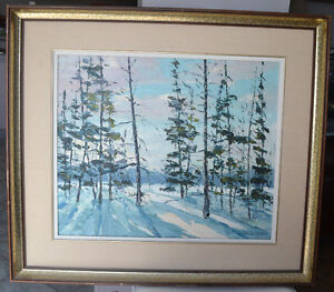 Roland Dostie( 1919) LISTED ARTIST WINTER OIL PAINTING EXCELLENT