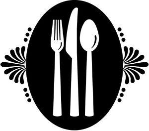 sticker d co autocollants vinyle adh sifs muraux cuisine assiette couverts. Black Bedroom Furniture Sets. Home Design Ideas