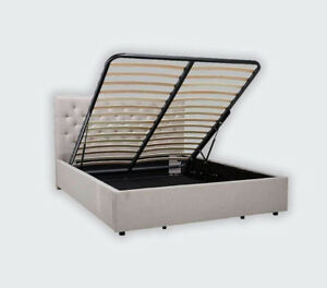 Queen size hydraulic storage European fabric bed with head